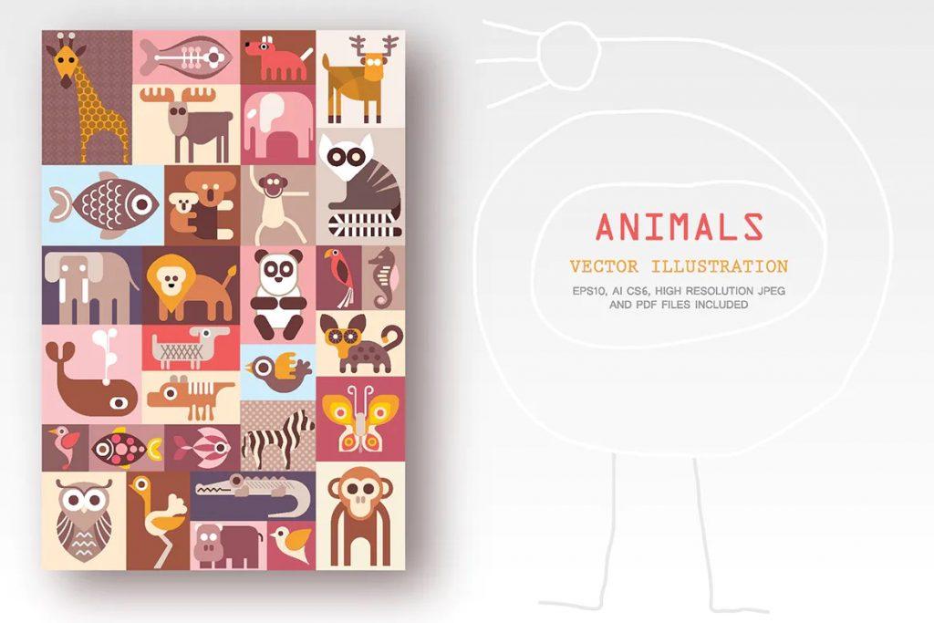 动物矢量图插图