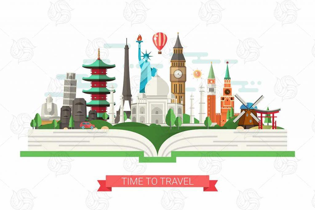 世界著名地标的旅行横幅插图