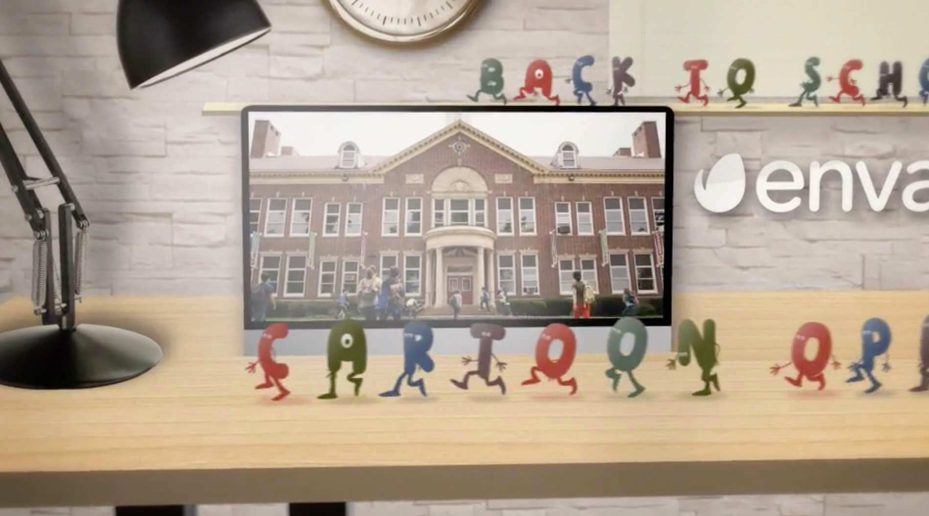 AE模板-卡通字母开场插图