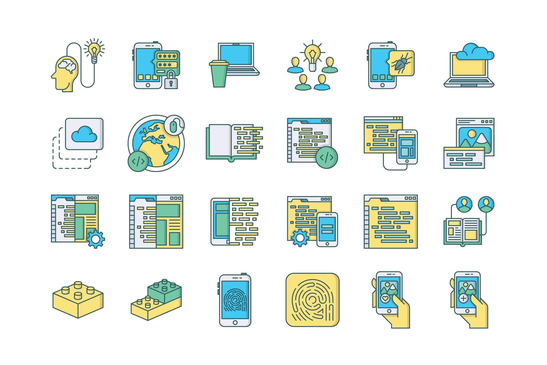 57个Web和移动开发图标插图