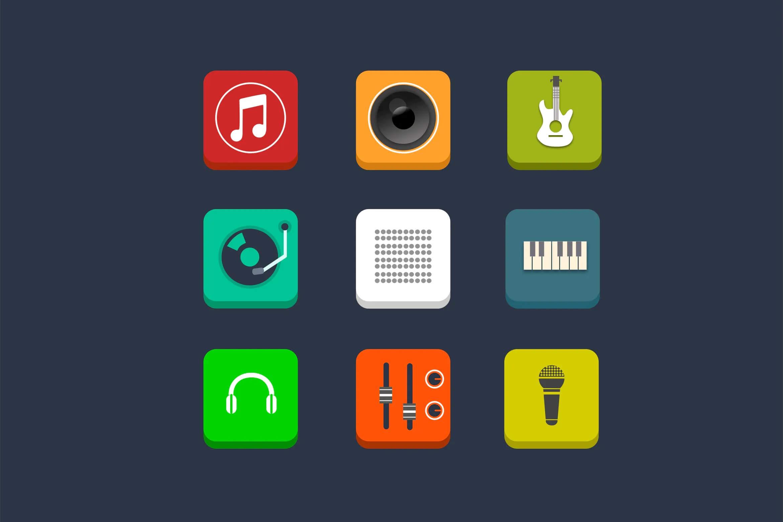 9个音乐和音频图标插图