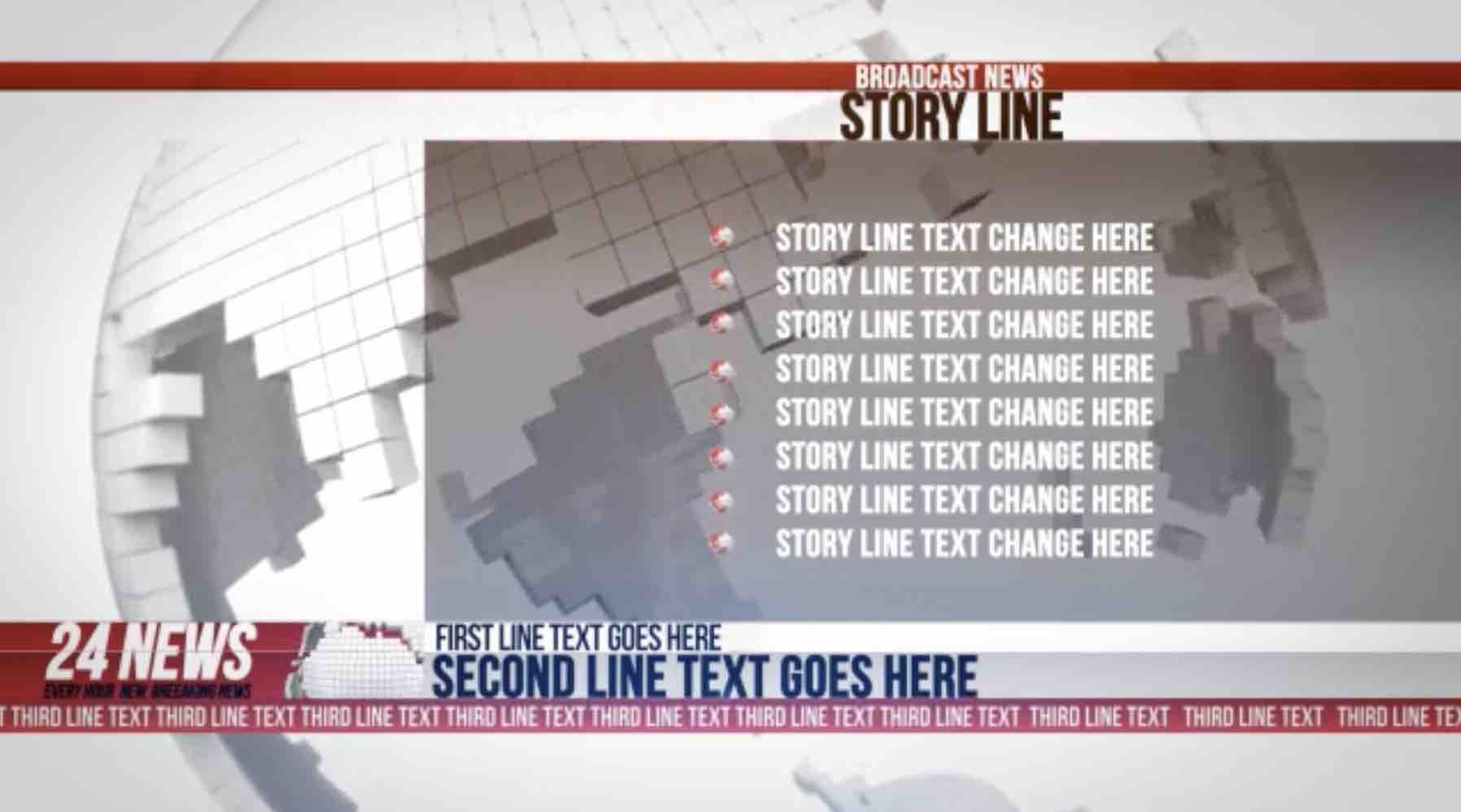 AE模板-24小时广播新闻完整电视栏目包装插图1