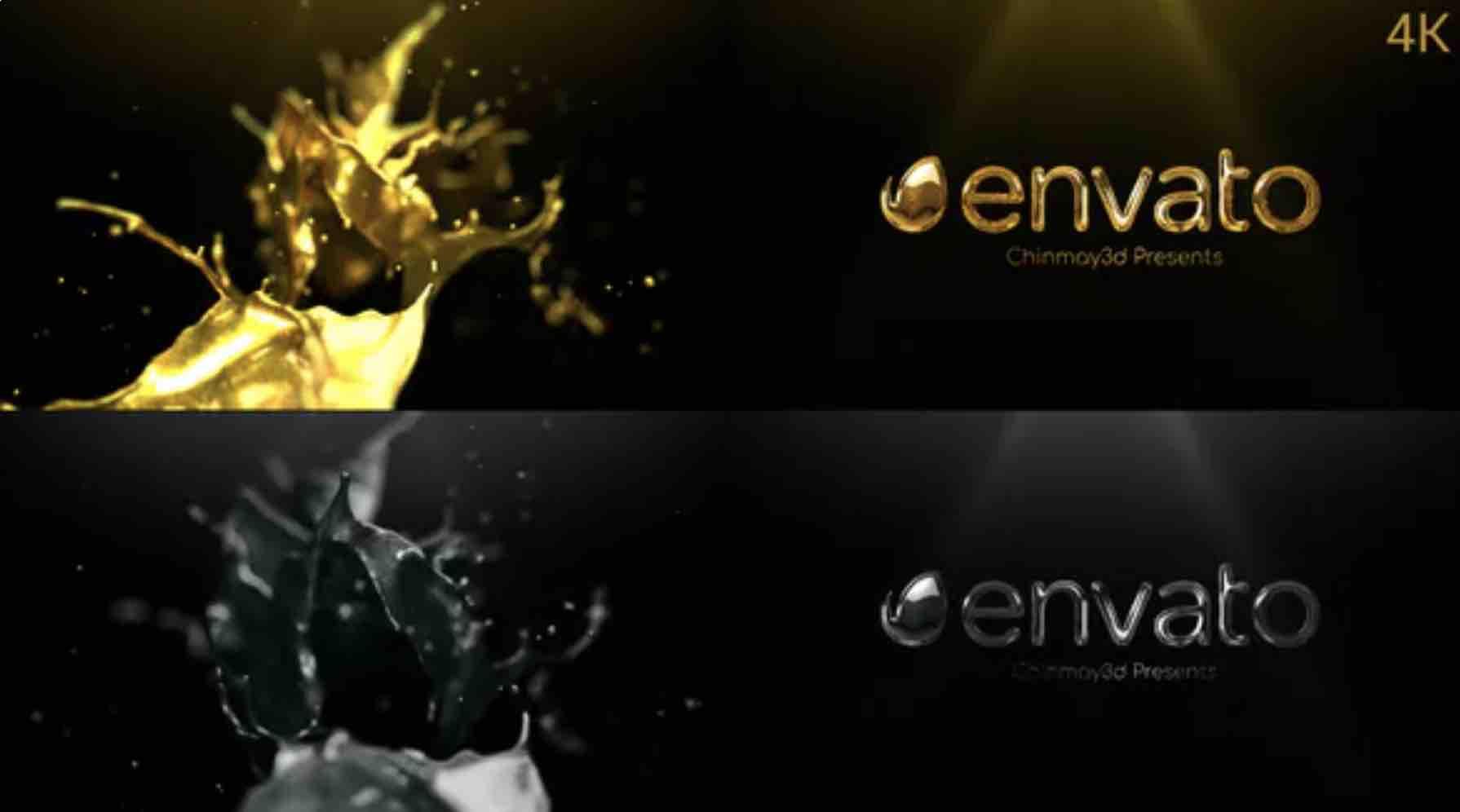 AE模板-4K金色和银色液体logo插图