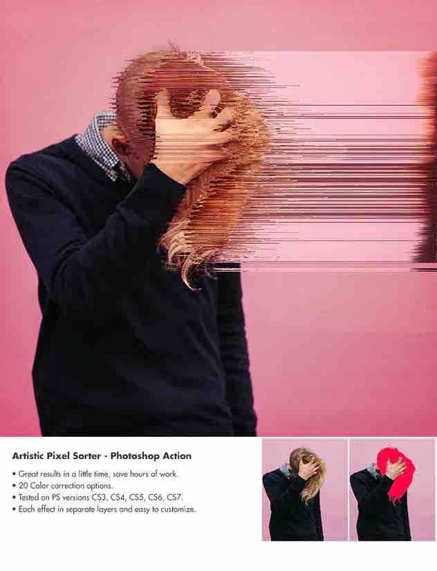 艺术像素排序器-Photoshop动作插图3