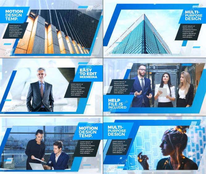 AE模板-蓝色企业图片视频展示插图