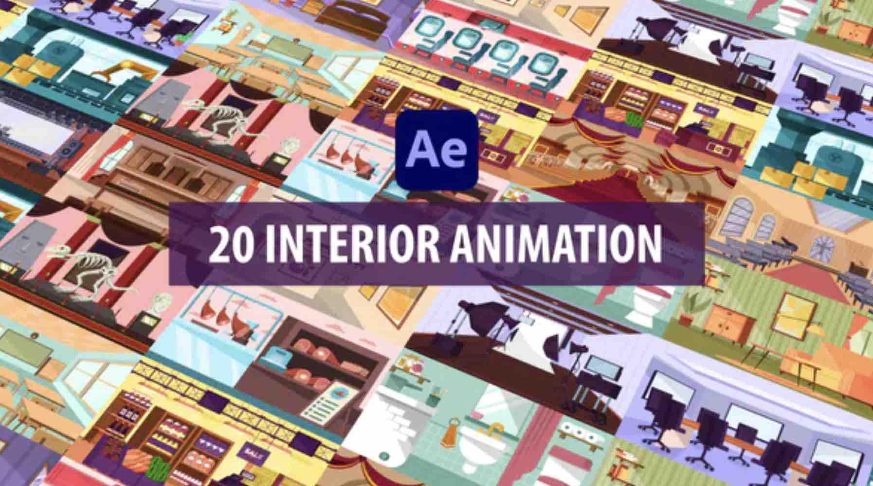 %title插图%num零号CG视觉平台AE模板-20个室内场景MG动画