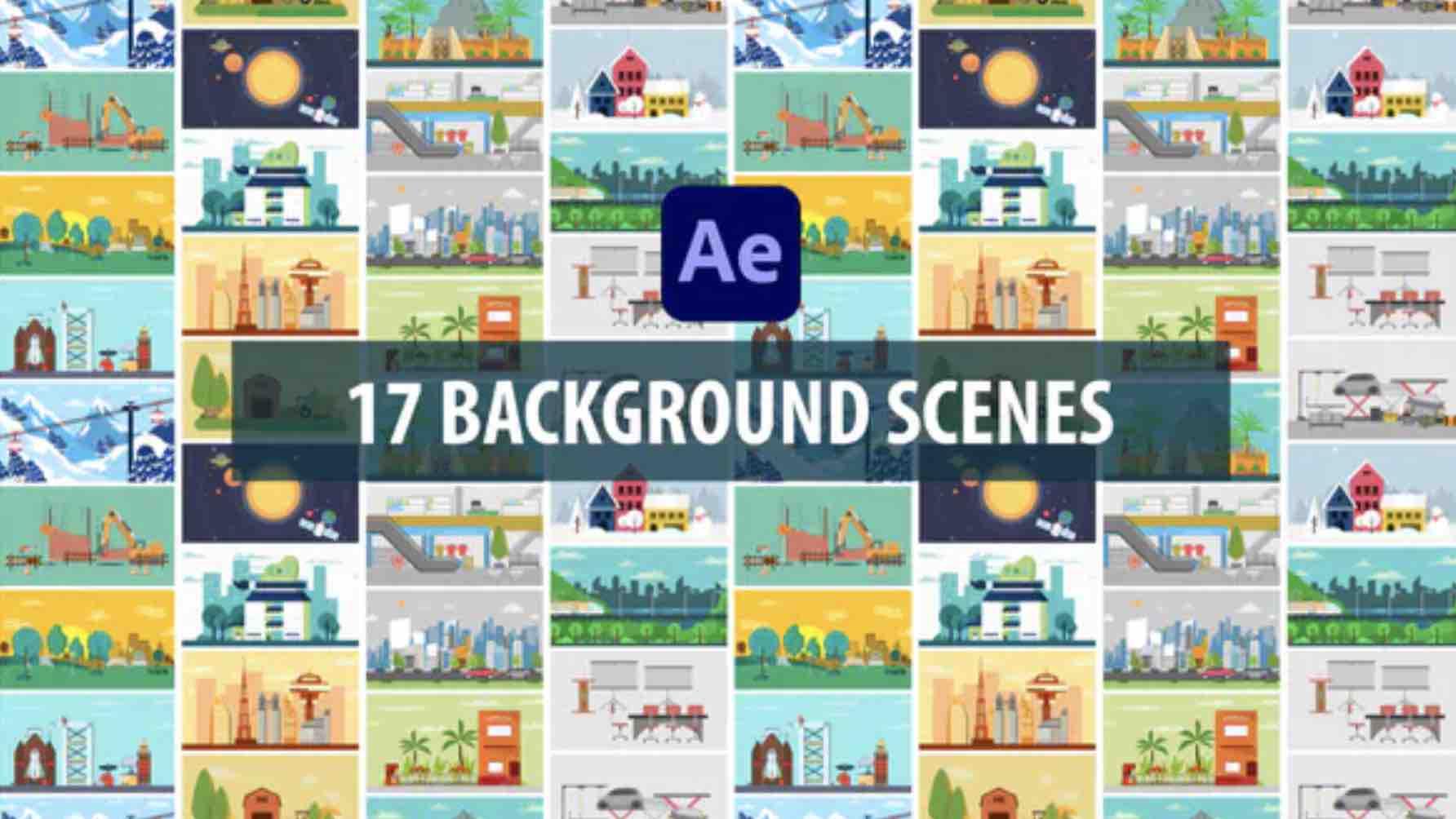 %title插图%num零号CG视觉平台AE模板-17个背景元素MG动画