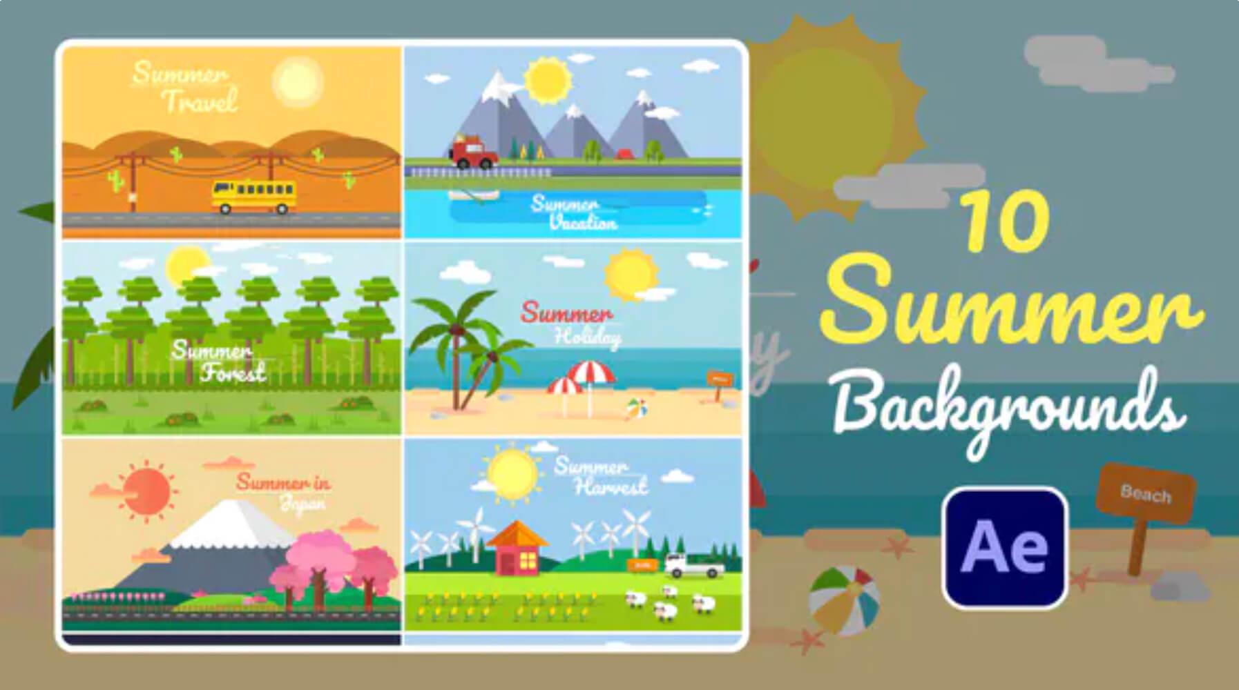 AE模板-10个夏天MG动画背景元素插图