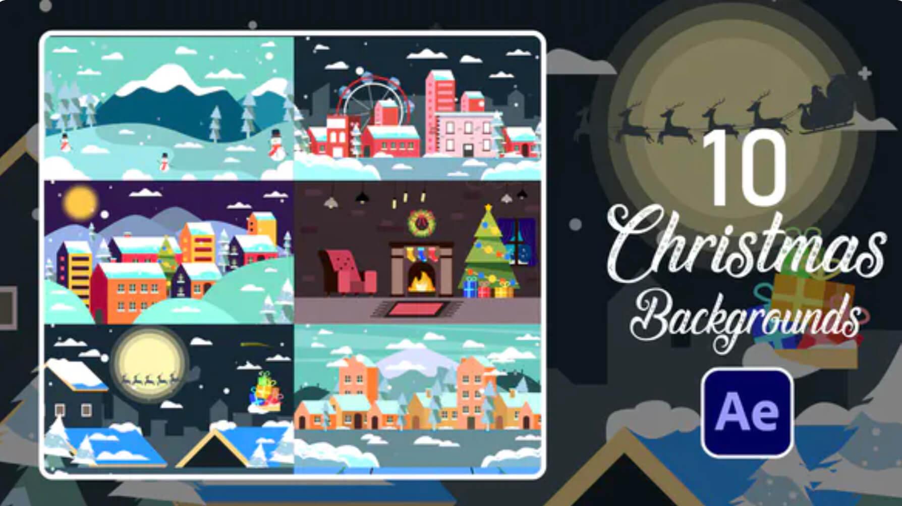 AE模板-10个圣诞节MG动画元素插图
